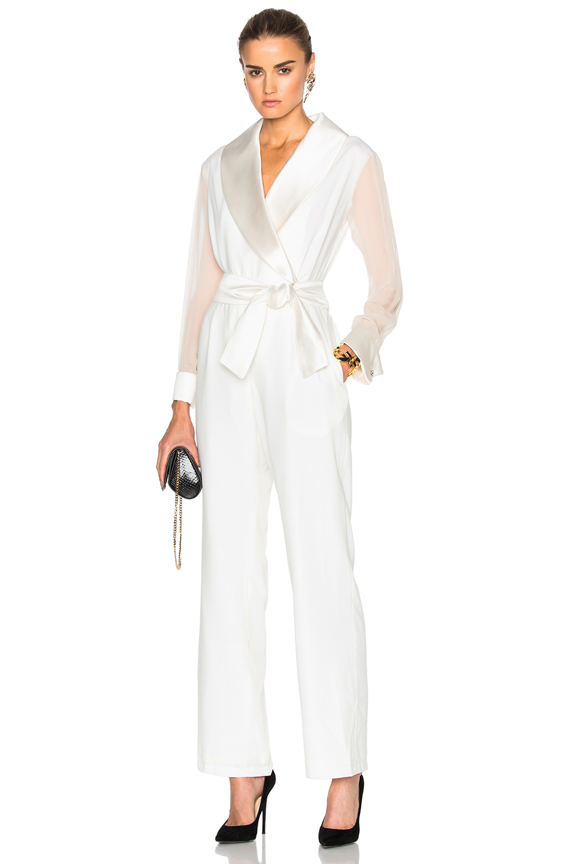 Carolina Ritzler Sheer Sleeve Jumpsuit in White