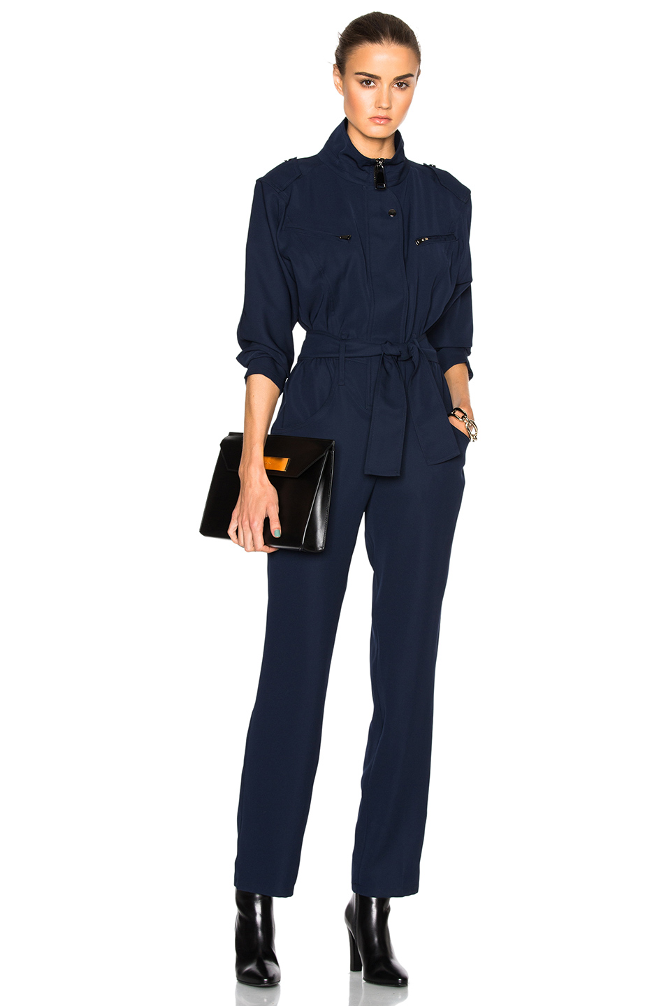 Carolina Ritzler Belted Jumpsuit in Blue