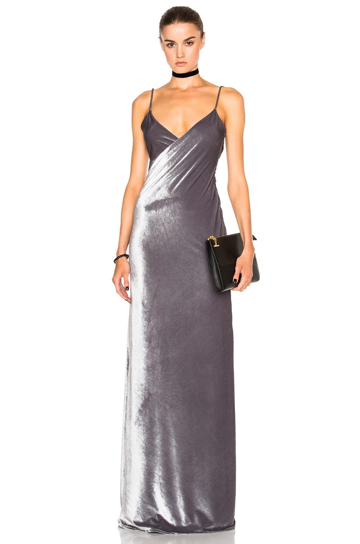 Catherine Fulmer Velvet Bias Dress in Gray,Metallics