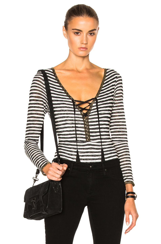 Catherine Fulmer Knit Bodysuit in Black,White,Stripes