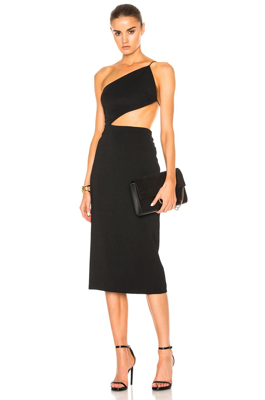 Cushnie et Ochs Cindy Asymmetric Open Back Dress in Black