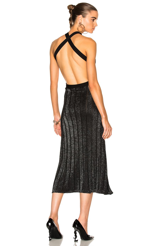 Cushnie et Ochs Knit Dress With Crisscross Straps in Black,Metallics