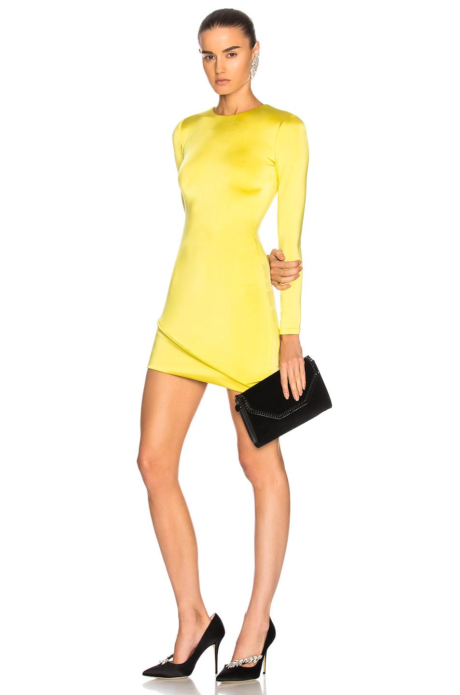 Cushnie et Ochs Asymmetrical Hem Long Sleeve Mini Dress in Yellow