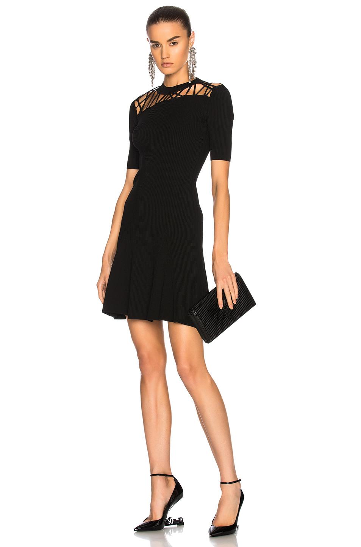 Cushnie et Ochs Fractured Lacing Short Sleeve Flare Dress in Black