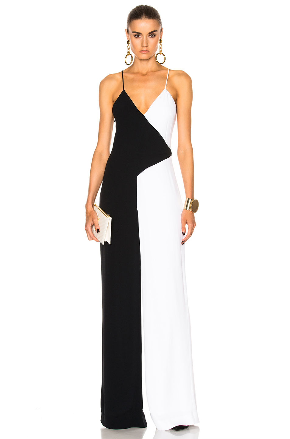Cushnie et Ochs Two Tone Wide Leg Jumpsuit in Black,White