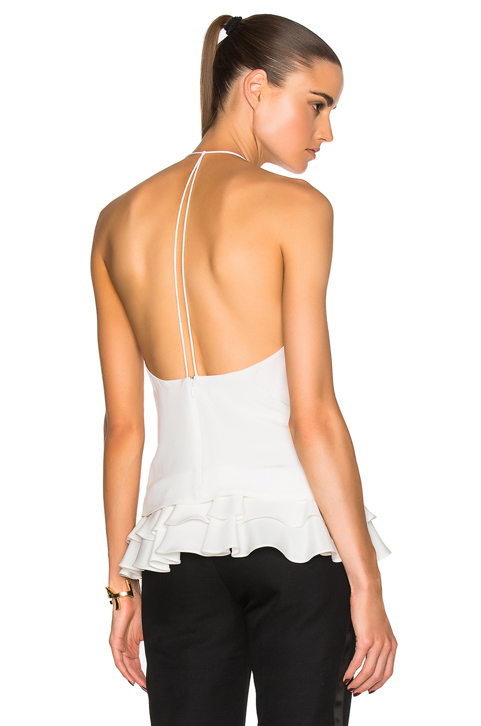 Cushnie et Ochs Silk Crepe Top in White