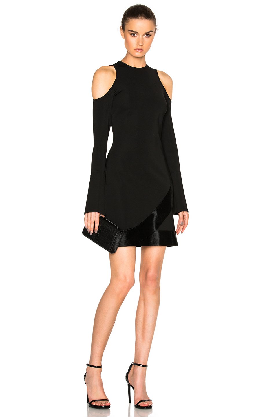 David Koma Open Shoulder Dress With Pony Hair in Black