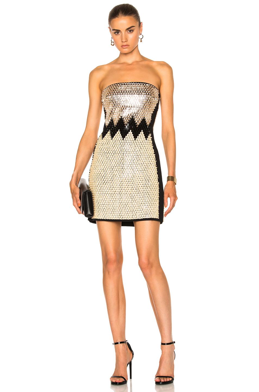 David Koma Plexi & Stones Embroidered Dress in Black,Metallics