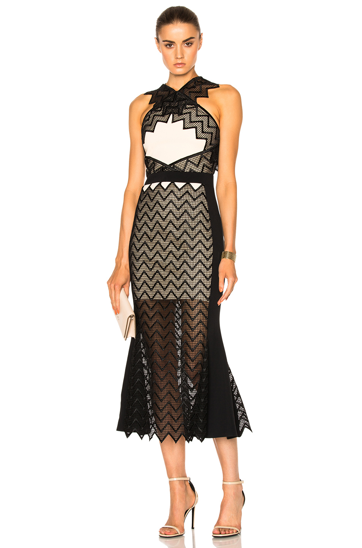David Koma Zig Zag Macrame Midi Dress in Black