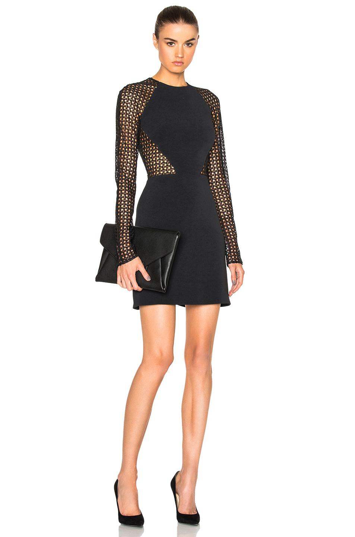 David Koma Lace Mini Dress in Black