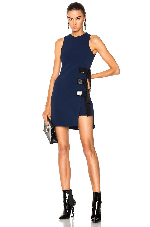 David Koma Metal Square & Ribbon Detail Sleeveless Dress in Black,Blue