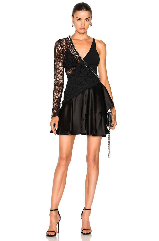 David Koma One Sleeve Macrame Ruched Asymmetric Hem Dress in Black