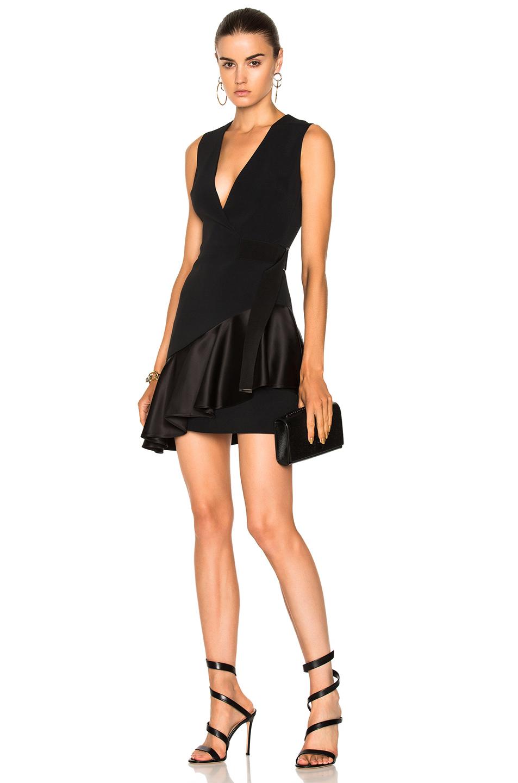 David Koma V-Neck Overlap Asymmetric Ruffle Hem Dress in Black