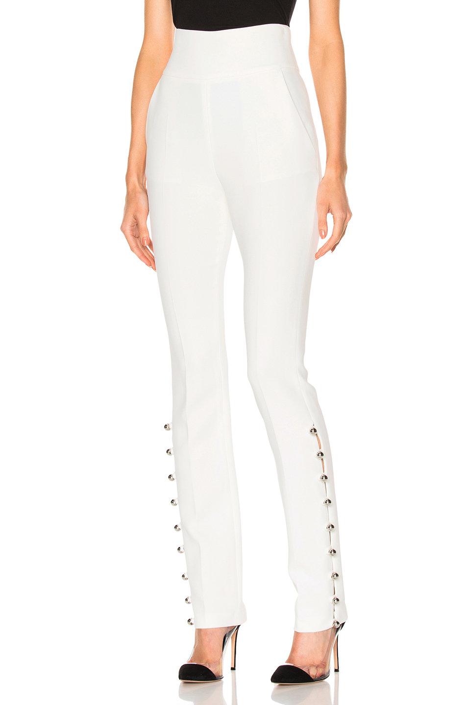 David Koma Loops & Metal Balls Hem Embroidered Trousers in White