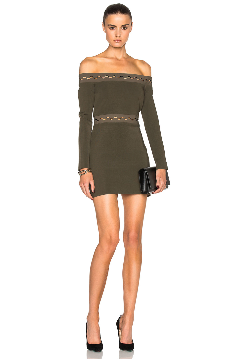 Dion Lee Long Sleeve Mini Dress in Green
