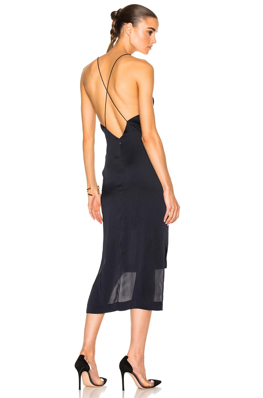 Dion Lee Satin Fine Line Cami Dress in Blue