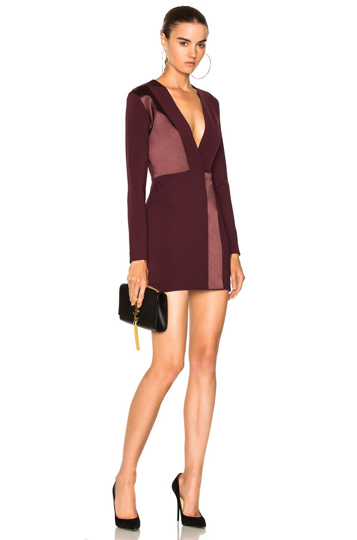 Dion Lee Spliced Silk Mini Long Sleeve Dress in Red