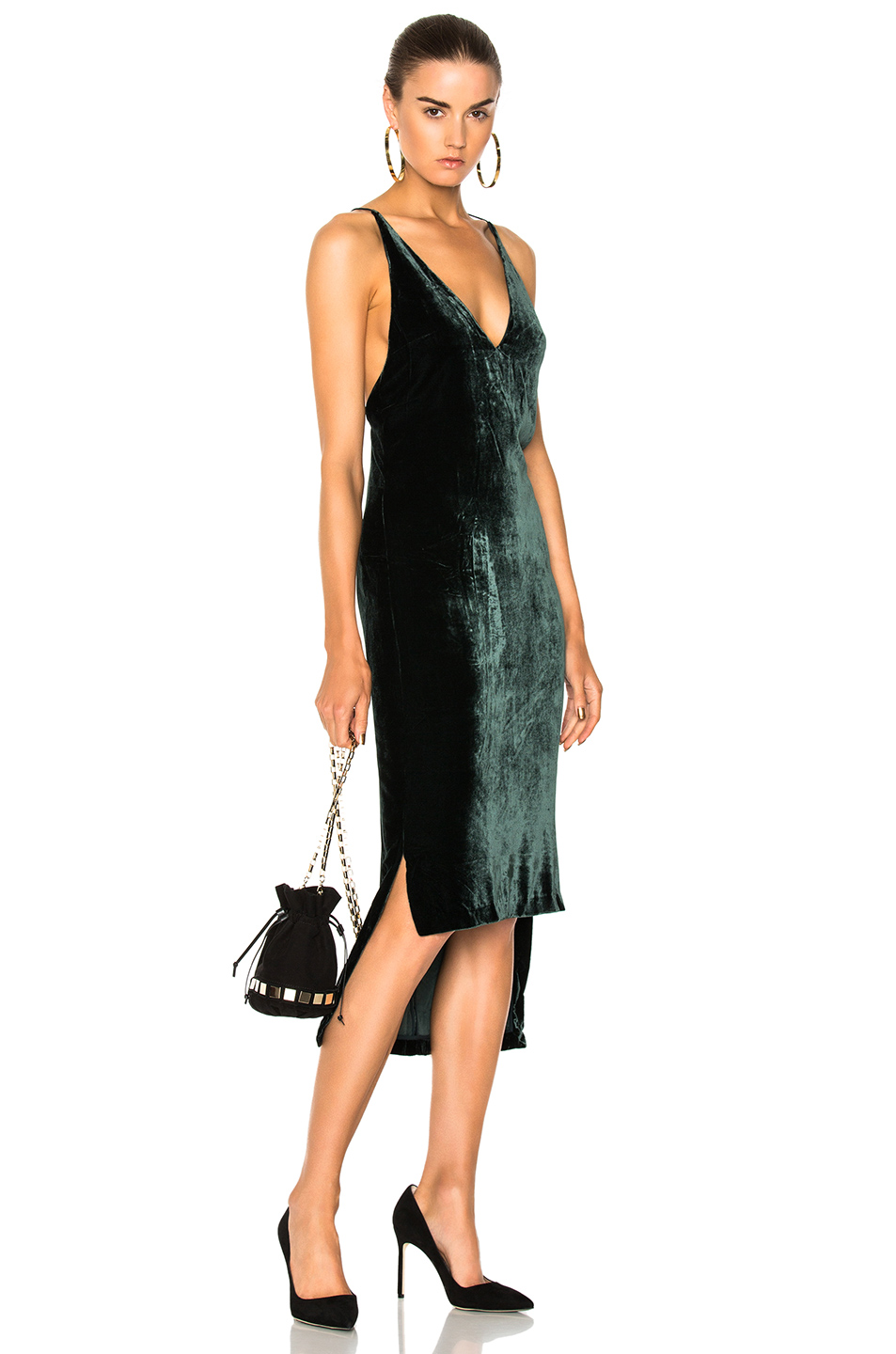 Dion Lee Silk Velvet Fine Line Cami Dress in Green