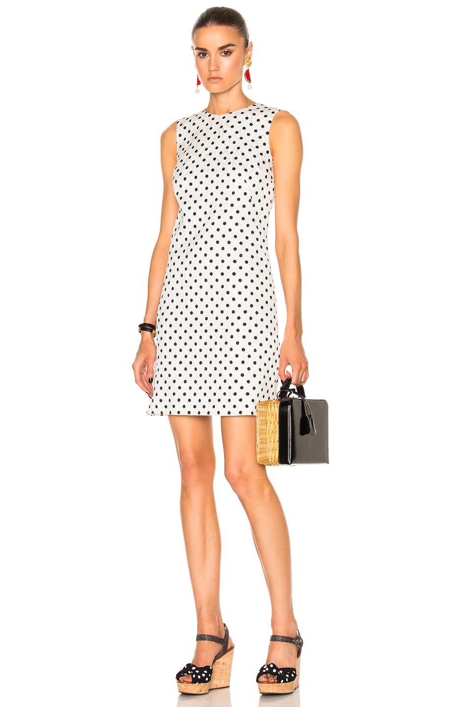 Dolce & Gabbana Sleeveless Dress in Geometric Print,White