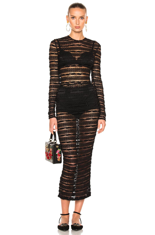 Dolce & Gabbana Long Sleeve Lace Dress in Black