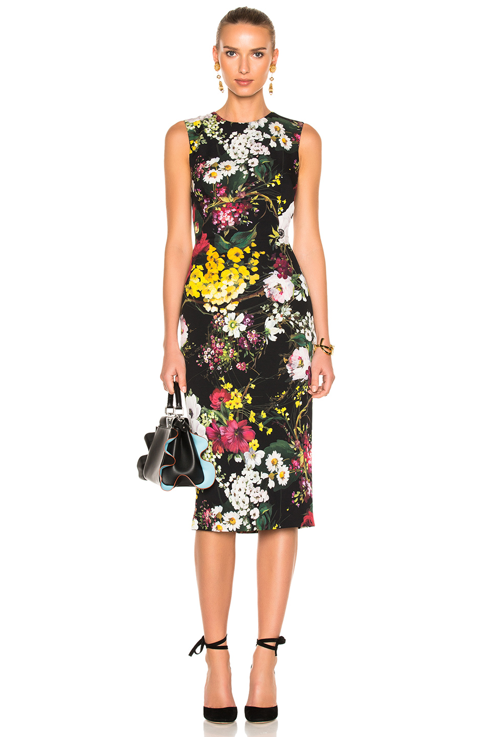 Dolce & Gabbana Floral Sleeveless Midi Dress in Black,Floral,Green,Red,Yellow