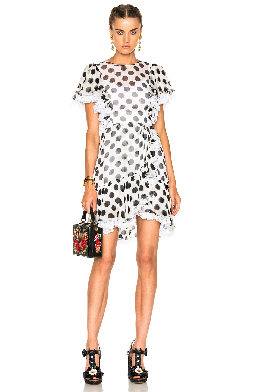 Dolce & Gabbana Ruffle Mini Dress in Geometric Print,White
