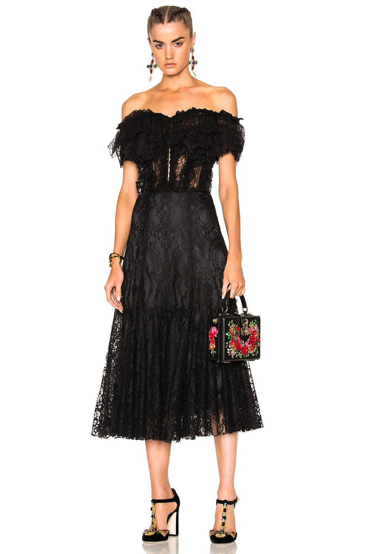 Dolce & Gabbana Off Shoulder Lace Dress in Black