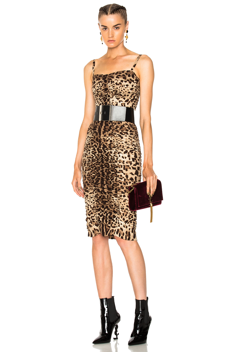 Dolce & Gabbana Printed Ruched Tank Dress in Animal Print,Brown,Neutrals