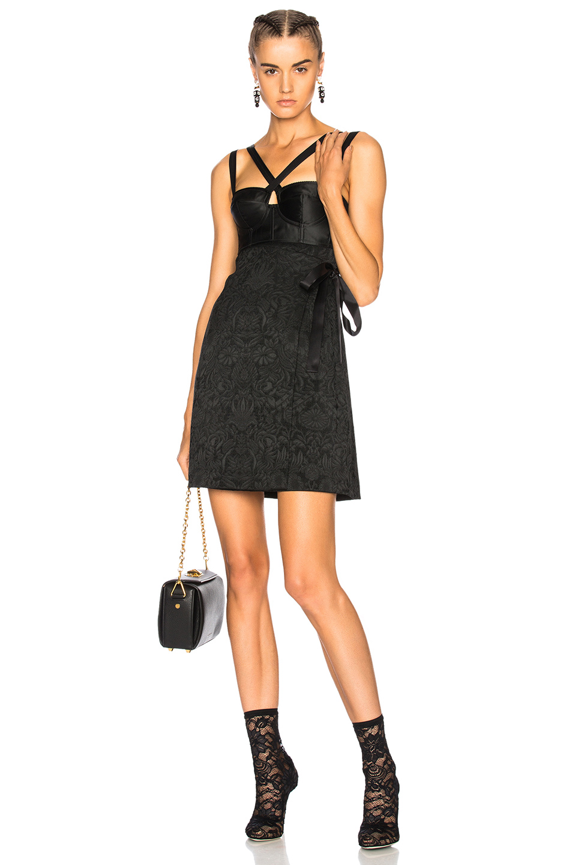Dolce & Gabbana Stretch Jacquard Mini Dress in Black