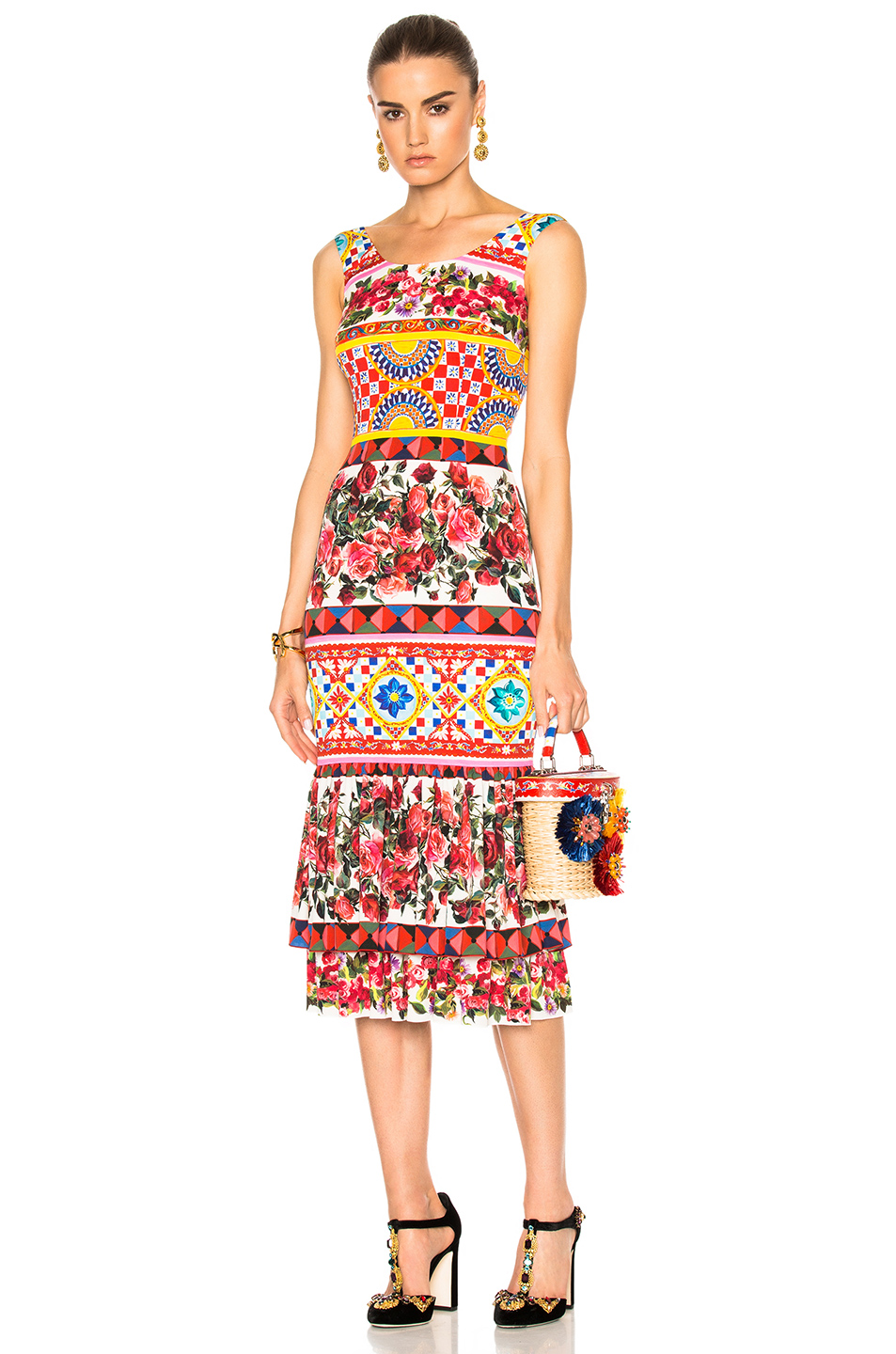 Dolce & Gabbana Charmeuse Printed Dress in Abstract,Floral,Pink,Red