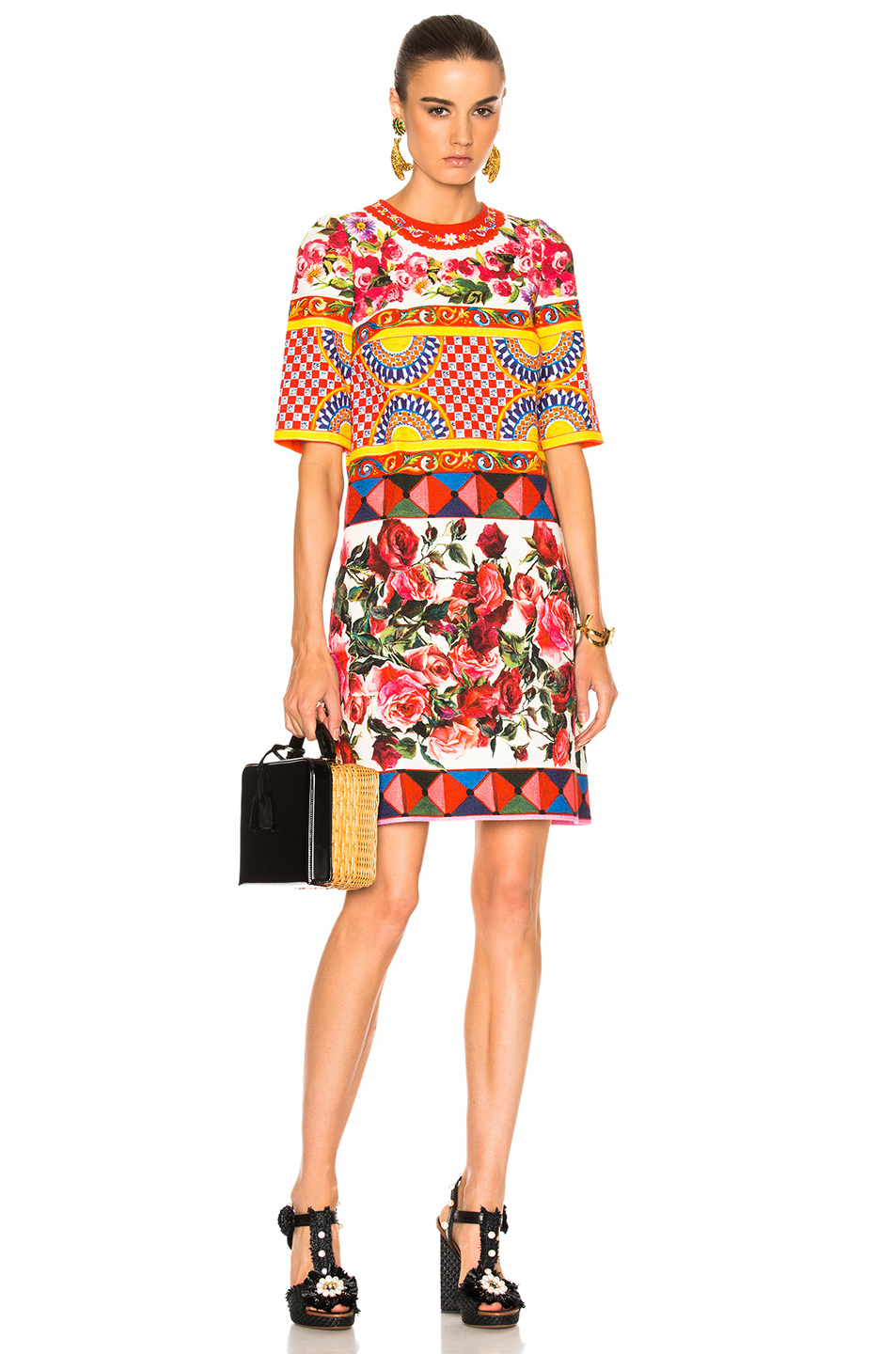 Dolce & Gabbana Printed Textured Cotton Dress in Abstract,Floral,Red