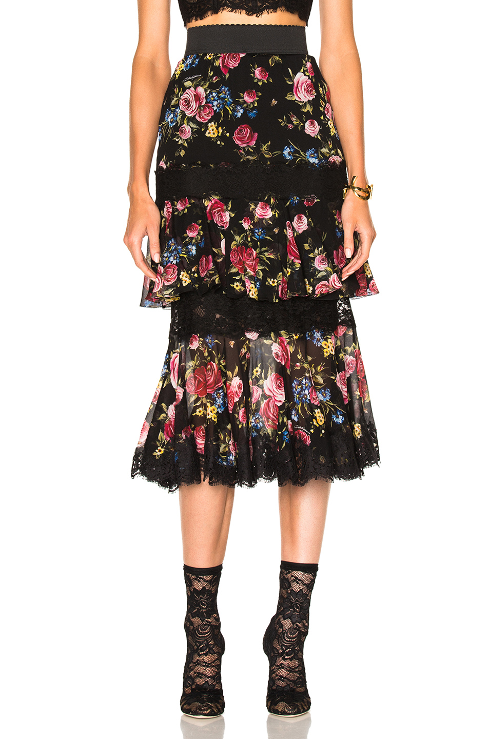Dolce & Gabbana Tiered Skirt in Black,Floral,Pink,Red