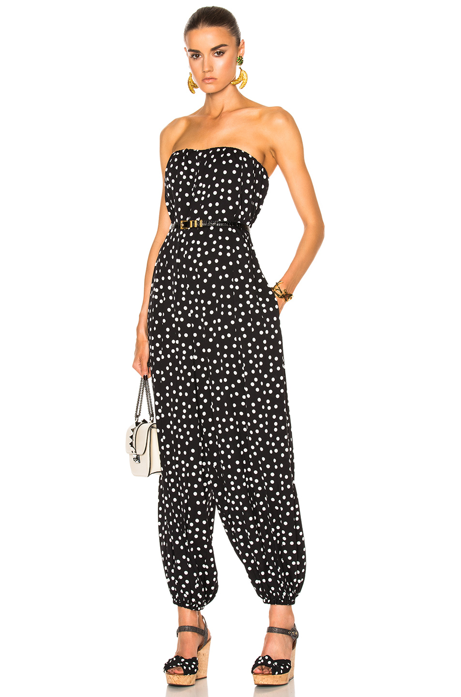 Dolce & Gabbana Strapless Polka Dot Jumpsuit in Black,Geometric