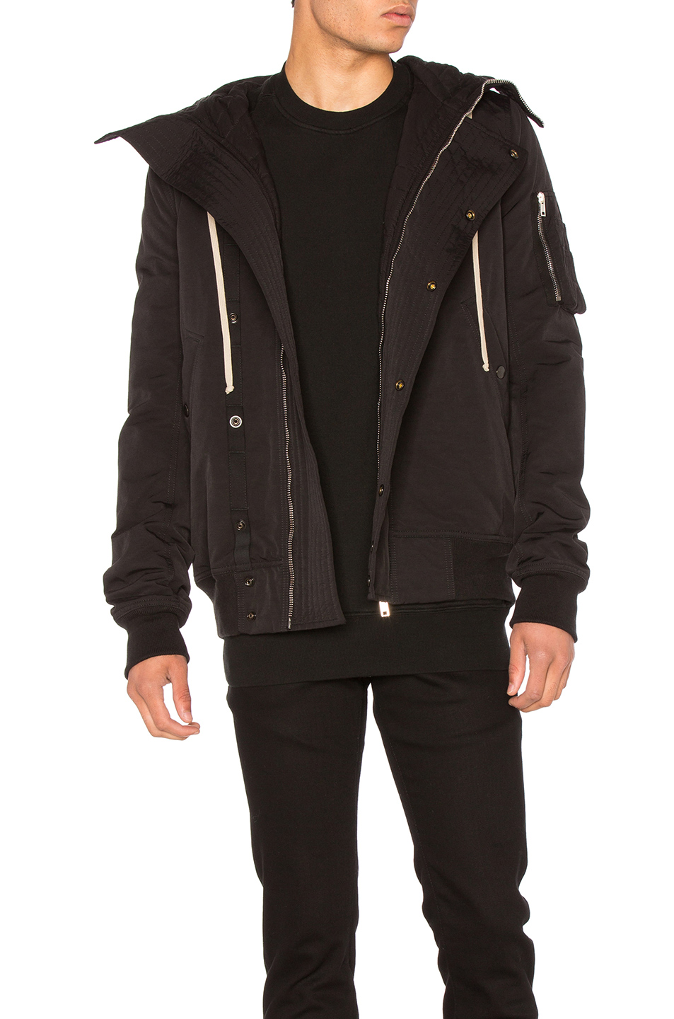 DRKSHDW by Rick Owens Short Hooded Bomber Jacket in Black