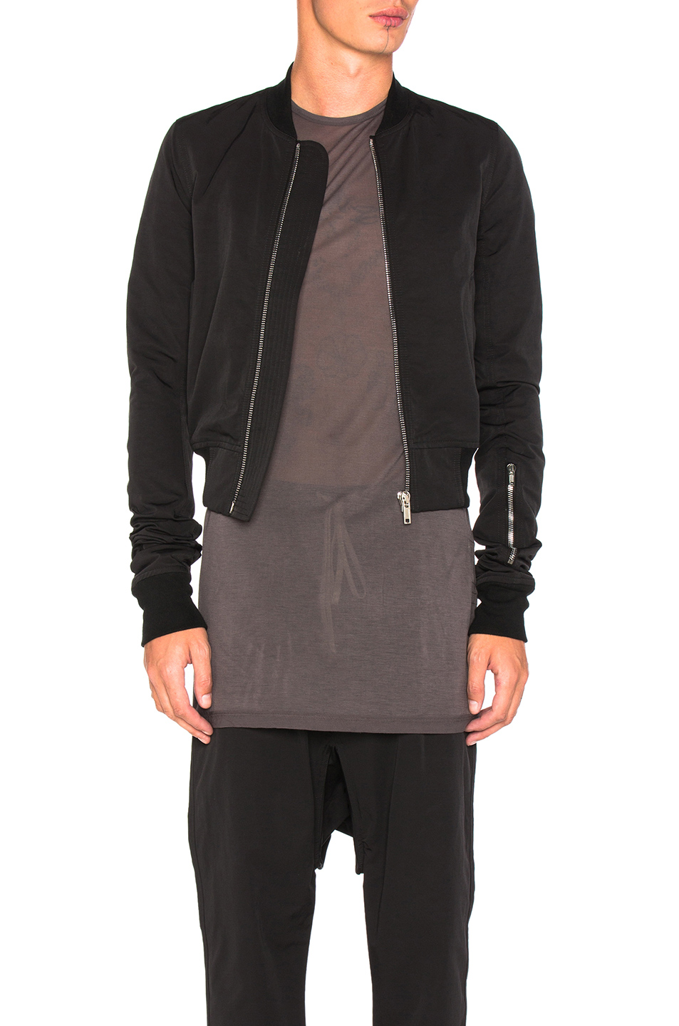 DRKSHDW by Rick Owens Glitter Flight Bomber in Black