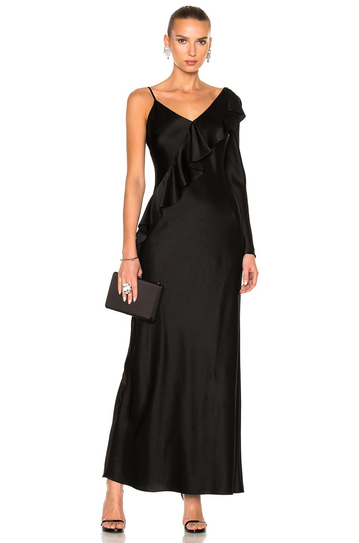 Diane von Furstenberg Asymmetrical Ruffle Gown in Black
