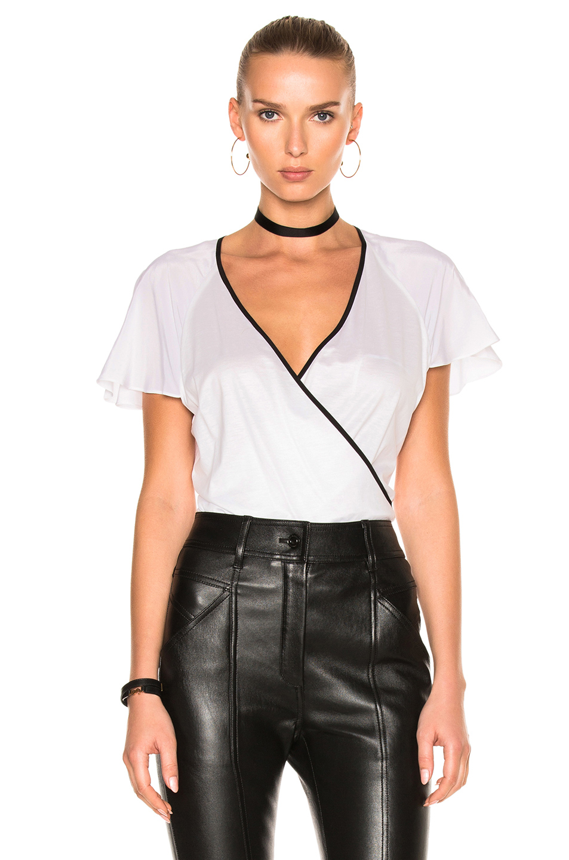 Diane von Furstenberg Ruffle Sleeve Bodysuit in White