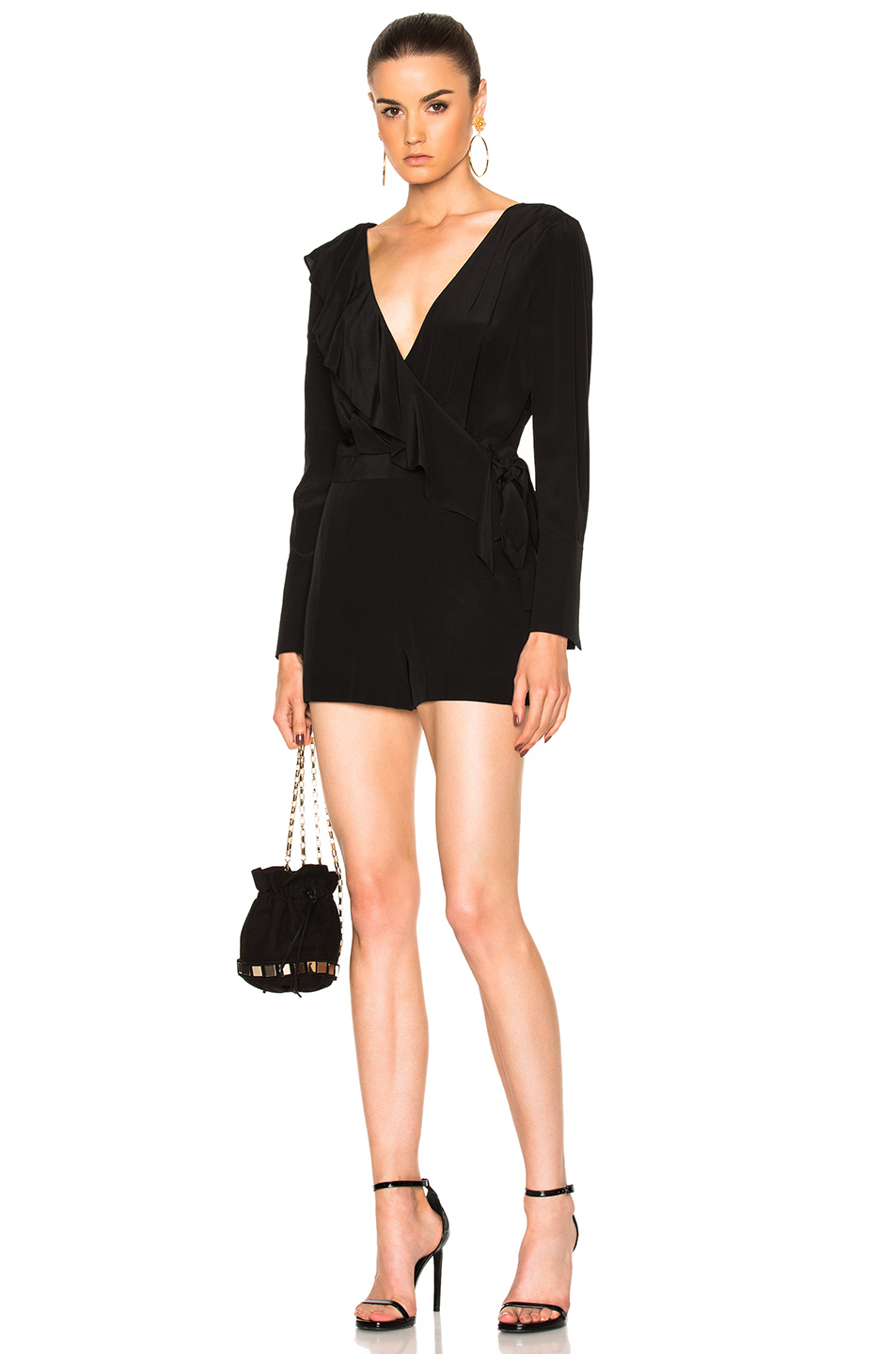 Photo of Diane von Furstenberg Asymmetric Ruffle Romper in Black online sales