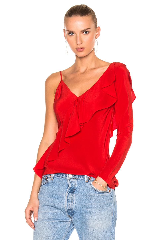 Diane von Furstenberg Asymmetrical Sleeve Ruffle Front Blouse Top in Red