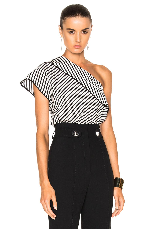 Diane von Furstenberg One Shoulder Side Slit Blouse Top in Black,Stripes,White