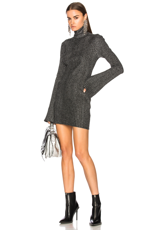 Ellery Generation Gap Sweater Dress in Black,Metallics