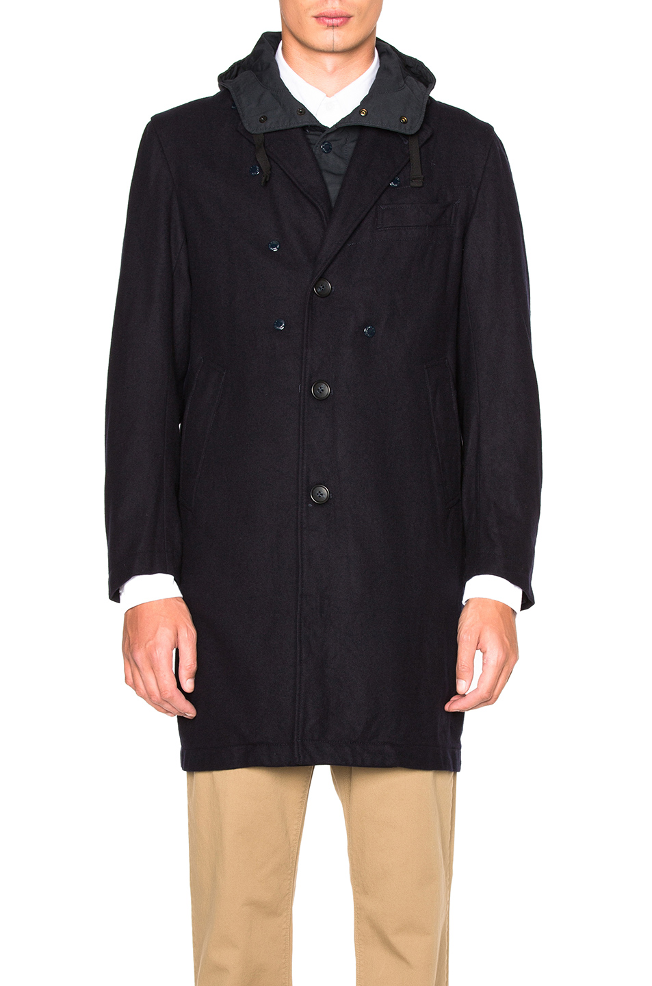 Engineered Garments Melton Chester Coat in Blue