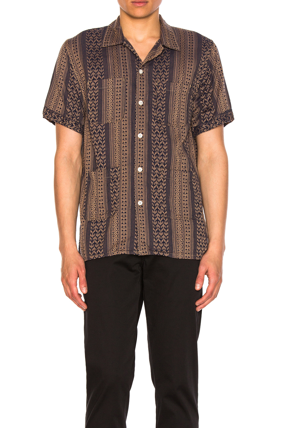 Engineered Garments Multi Stripe Jacquard Camp Shirt in Blue,Brown,Abstract