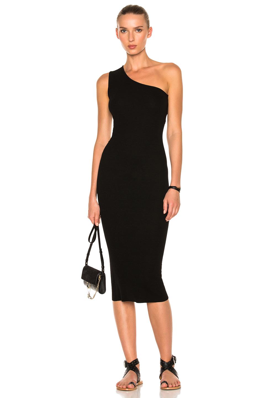 Enza Costa Rib One Shoulder Midi Dress in Black