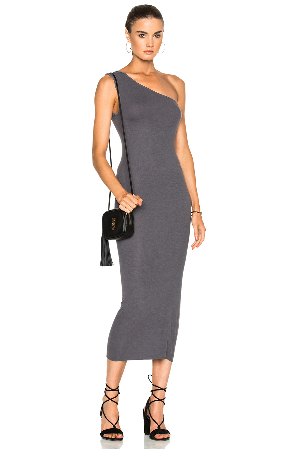 Enza Costa Rib One Shoulder Midi Dress in Gray