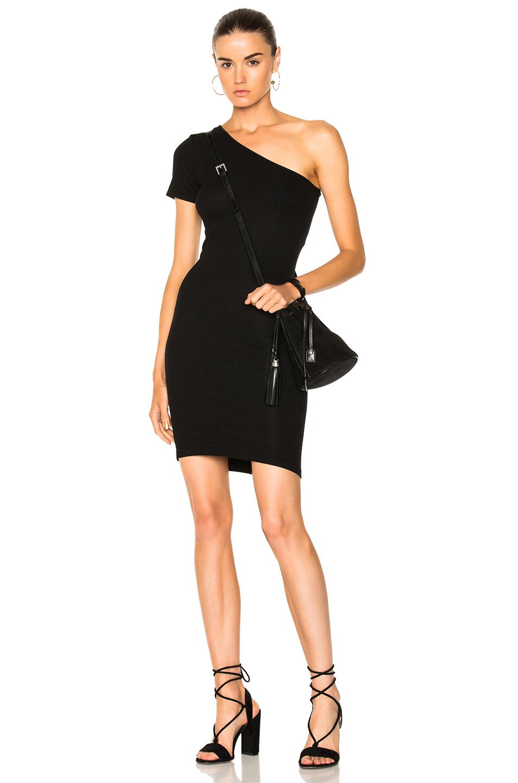 Enza Costa One Shoulder Dress in Black