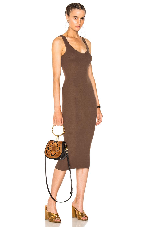 Enza Costa Rib Tank Dress in Brown