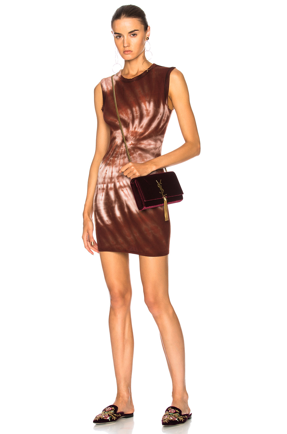 Enza Costa for FWRD Rib Sleeveless Mini Dress in Brown,Ombre & Tie Dye,Red