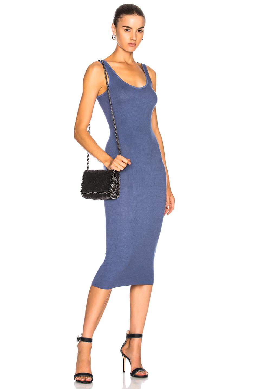 Enza Costa Rib Tank Dress in Blue