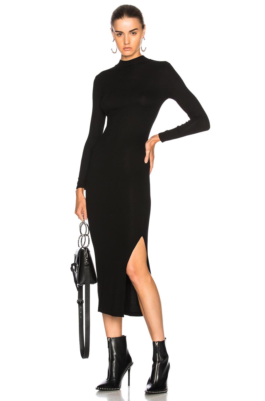 Enza Costa Rib Turtleneck Dress in Black
